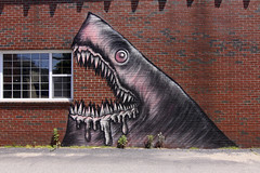 Shark Toof (Voluntary Amputation) Tags: streetart graffiti paint nh tags spray bumblebee explore portsmouth june6 slayerday harbourplace alexandrosvasmoulakis herakut sharktoof andreasvonchrzanowski portsmouthmuseumofart may112011september112011