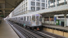Purple Line (Crawford Brian) Tags: chicago train cta el elevated rail station masstransit purpleline loop illinois midwest urban vanishingpoint randolph wabash platform building architecture transportation