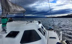 Sailing from Mickeys Bay across to the Huon River