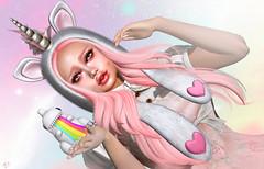 CuteCorn (meriluu17) Tags: astralia zenith pink unicorn hoodie cute zilla gozilla heart cutiepie kawaii baby kid doll child innocent rainbow horn magic portrait pastel ears foxcity