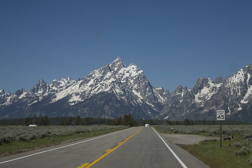 Driving toward the Tetons