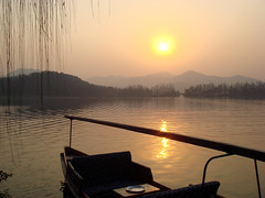 Xihu - West Lake Sunset (Namisan) Tags: china sunset sun lake west boat westlake hangzhou   xihu  top20sunsetsofourhearts