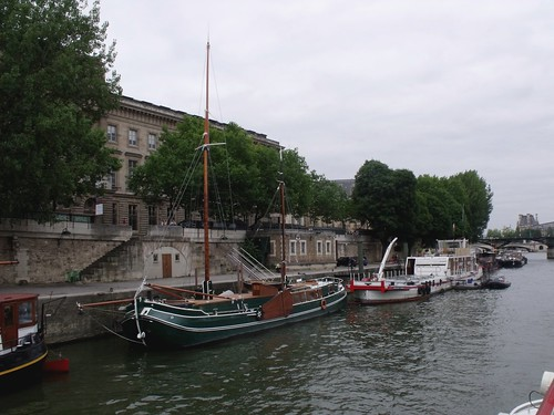 "Boats on the Seine - Palais ""Monnaie de Paris"" - green boat and Sapeurs Pompiers"