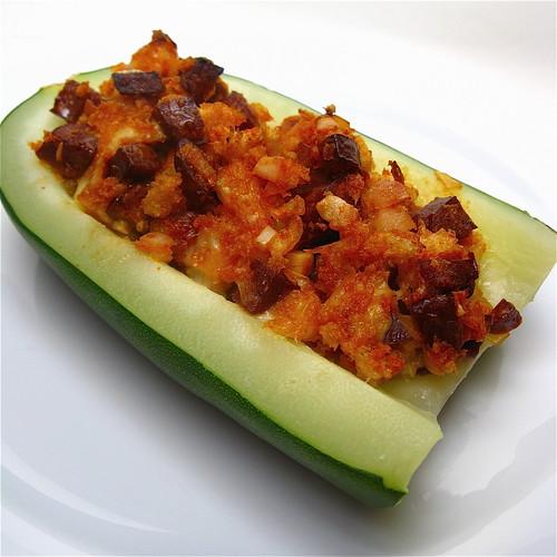 Chorizo Stuffed Zucchini