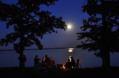 Late night camp fire (sfPhotocraft) Tags: family summer camp usa moon lake reflection minnesota fire campfire 2009 bemidji ruttgers lakebemidji