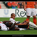 Micah Richards hurt next to him, James Vaughan of Everton
