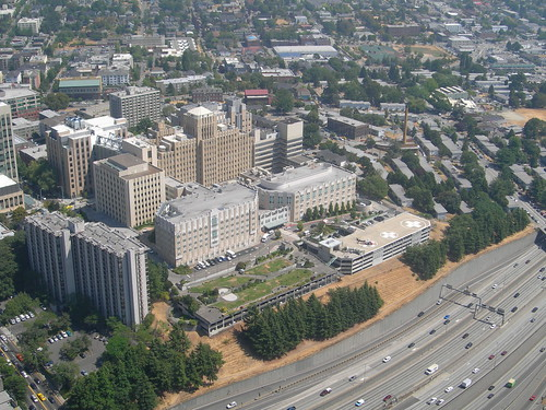 A Hospital off I-5 in Seattle Washington.