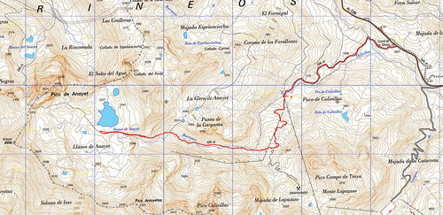 Mapa excursión ibones de Anayet