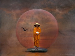 Waiting Monk (h.koppdelaney) Tags: world life light art digital photoshop self gold peace state symbol buddha space monk buddhism philosophy virtue inner patient zen harmony mind inside meditation awareness metaphor cosmic consciousness psyche rinpoche patience symbolism psychology selbst archetype oneness tugend humbleness transduality gewahrsein graphicmaster selbstbeobachtung