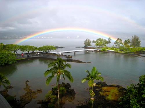 Double Rainbow over coconut island