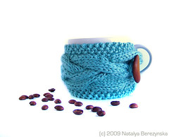Coffee / Tea Cup Cozy by Natalya's Studio - Blue (natalya1905) Tags: birthday christmas wood red cup coffee wine tea cable gift button mug knitted sleeve winered cupcozy mugcozy natalya1905 natalyasstudio