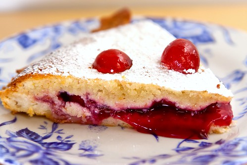 A slice of Bakewell pudding