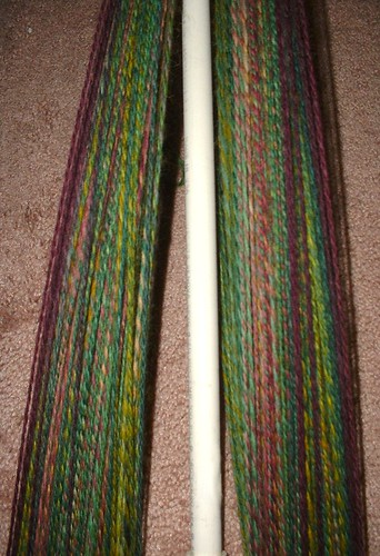 greenredyellow spinning in progress plied 1 niddynoddy
