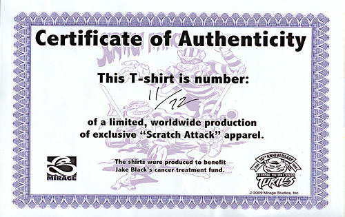 """Scratch Attack ! "" - Jake Black benefit T-shirt ,True Red .. art by Fernando León González & Ryan Brown - CERTIFICATE OF AUTHENTICITY ..11 of 72 (( 2009 ))"