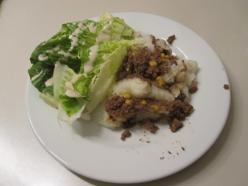 Sheppard's pie and a salad