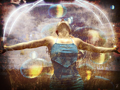 I've got the power (vinciane.c) Tags: blue light texture yellow photomanipulation women power happiness photomontage wacomcintiq