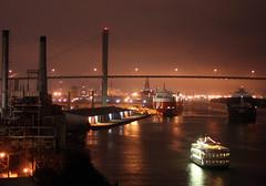 this old river keeps on rollin' (phoebe reid) Tags: bridge rooftop night ga river georgia riverboat savannah barge bohemian myfirstrealattemptthatwassemisuccessfulanyway thankstolauraandmistyforteachingmesomenewtricks myfirstrealattemptatnightphotography