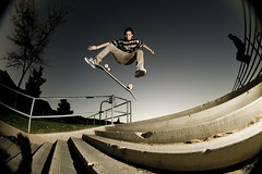 kickflip (jrodriguezrx) Tags: photography photo stair skateboarding phil 8 fisheye pharmacy skate jc 8mm palmdale hillview peleng strobist