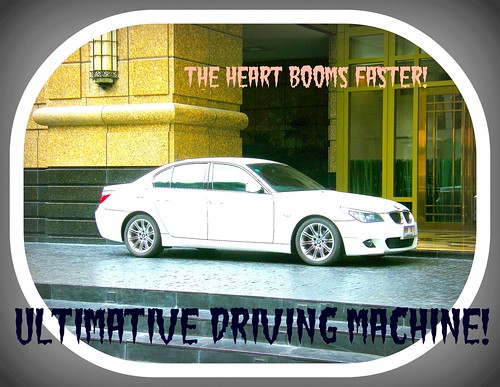 BMW 5-series, white, new, super sporty in accent – ideal for roller boys or