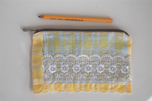 'lace & yellow checks' purse - a giveaway
