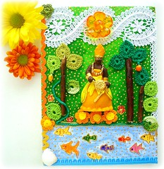 Oxum, Rainha das Cachoeiras (Lidia Luz) Tags: collage shrine handmade crochet quadro screen altar canvas colagem decoupage tela oxum croch relicrio lidialuz