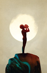 Sam Weber on Ape on the Moon (moonape) Tags: illustration artist contemporaryart modernart paintings style literature watercolour lordoftheflies feature bookart bookillustrations mythical samweber contemporaryillustration alexmathers apeonthemoon moonape
