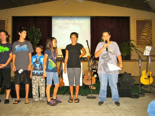 The youth performing a skit on the Ten Commandments