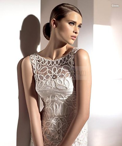 A-line strapless delicate chiffon with embroidery white wedding dress by anyi2005.