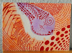 ATC Meteor (Windowfog) Tags: original red orange art lines atc pencil watercolor sketch artist hand purple patterns painted card aceo trading 25 marker drawn 35 trade meteor available kakao zentangle