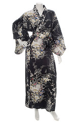 Flower Black Silk Kimono (The Japanese Shop) Tags: blackkimono blacksilkkimono blackcolourkimono