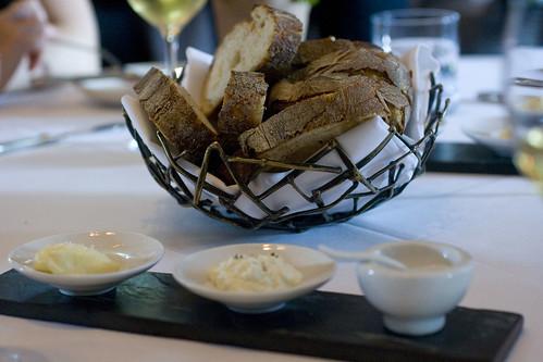 bread, butter, ricotta, parsnip salt