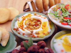 Hummus (Shay Aaron) Tags: food scale kitchen israel miniature salad mediterranean handmade aaron middleeast fake balls mini vegetable fimo arab tiny shay oliveoil falafel 12th 112  hummus pinenuts dollhouse petit pita sesamepaste tahini     tehina            shayaaron