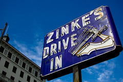 Zinke's Drive-In (dogwelder) Tags: california blue sign hammer neon july pasadena zurbulon6 2008 shoerepair coloradoavenue zurbulon
