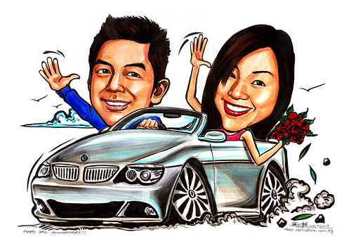 Couple caricatures on BMW 650i