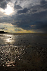 Ryde sands storm a'coming col (gallyslave) Tags: sea sky sunlight seascape beach clouds reflections landscape landscapes seaside sand shadows isleofwight beaches isle ryde appley puckpoolbeach