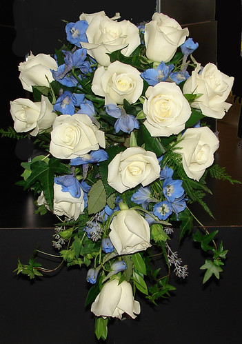 White and Blue Cascade Wedding Bouquet See Westosha Floral for your wedding