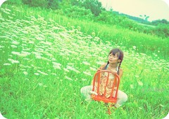 hazy sunshine (a mothers art photography (Gail)) Tags: old blue red summer white green eye girl field wooden haze beige weeds chair peeling paint candy little queenanneslace braid actions cs3 matildajane nikond700