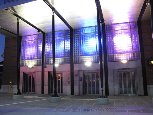 New lighting has been installed on the front of the Beacon Hill Station. It gradually shifts color between blue and purple. Photo by Wendi.