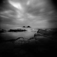 A World to Ourselves. (Parcelpacker) Tags: longexposure sea beach holga diafine panf progo autaut soheavilybreatheduponorwhat