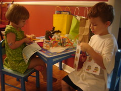the children played at the craft table.
