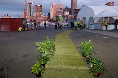 Green carpet and solar cinema tent