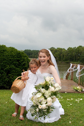 Flower Girl Pulling her Backwards