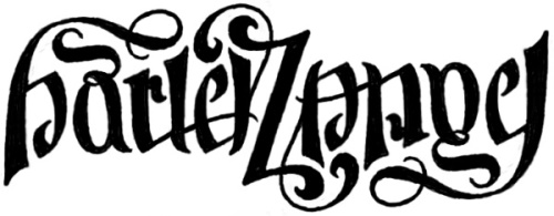 """Harley Z Angel"" Ambigram Sketch #5"