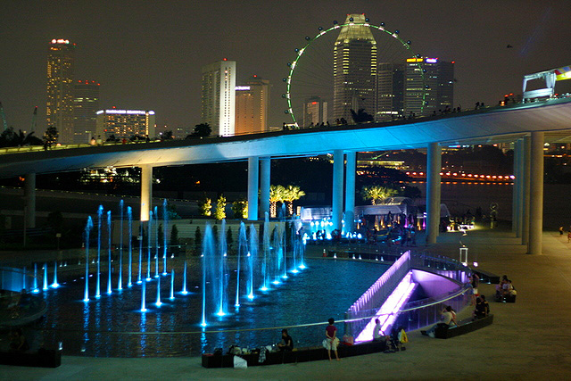 Marina Barrage at night