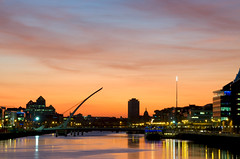 Dublin Sunset (shaymurphy) Tags: bridge ireland sunset sky dublin house reflection water silhouette night buildings river liberty hall forsale bank spire liffey becket buy custom beckett samuel silhoette purchase ulster nikkor18200 redbubble nikond300 explore92sep182009
