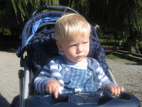 Jacob on a rare trip in the stroller