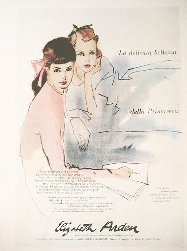 Elizabeth Arden - Milano; Ap.: C.P.V. Italiana, da Pubblicità in Italia 1954 - 1956, Editrice L'Ufficio Moderno, p. 54, (part.)