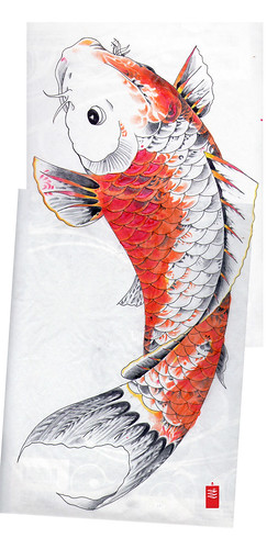 koi japanese tattoo flash study of Horicho