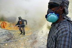 Workers - Kawah Ijen (Maciej 'Magic' Stangreciak) Tags: travel lake travelling indonesia java workers asia southeastasia magic sulphur sulfur travelphotography ijen kawahijen sulfurlake banyuwangi maninmask sulphurlake maciejstangreciak