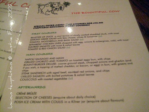 Toptable Menu - The Bountiful Cow, Holborn